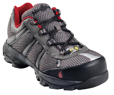 Nautilus Mens Steel Toe ESD Athletic W Grey/Red Action Leather Shoes