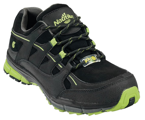 Nautilus Mens Steel Toe ESD Athletic W Black/Lime Action Leather Shoes