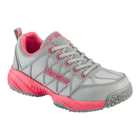Nautilus Womens Composite Toe Athletic M Grey Leather Shoes