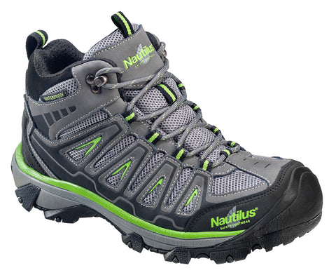 Nautilus Mens Steel Toe Waterproof EH Hiker M Grey Nubuck Leather Boots