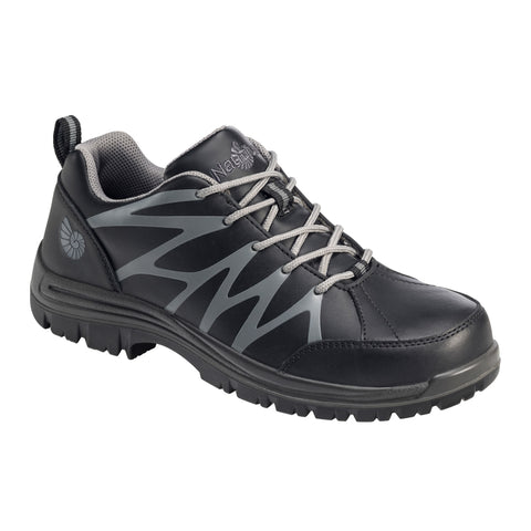 Nautilus Mens Black Leather Comp Toe SR Athletic Work Shoes