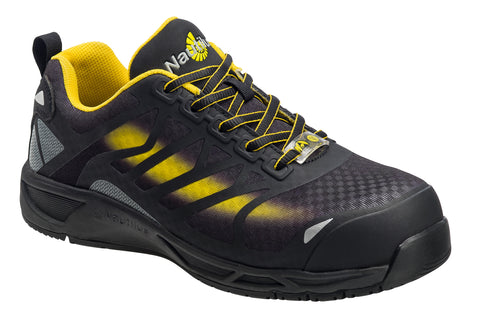 Nautilus Mens Comp Toe Adv ESD Athletic M Black Synthetic Yellow Shoes