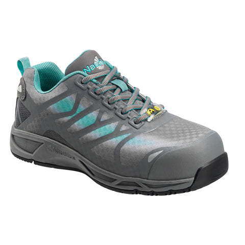 Nautilus Womens Grey/Teal Mesh Soft Toe ESD Athletic Work Shoes