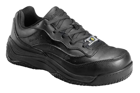 Nautilus Mens Ergolite Slip Resistant Athletic M/W Black Leather Shoes