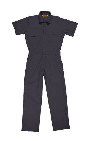 Berne Mens Charcoal Cotton Blend Poplin Short Sleeve Coverall