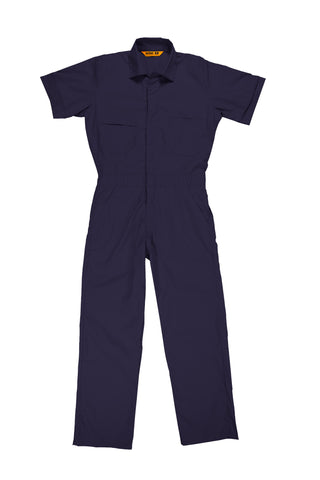 Berne Mens Navy Cotton Blend Poplin Short Sleeve Coverall