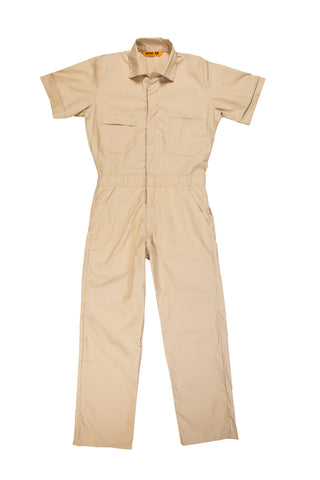 Berne Mens Tan Cotton Blend Poplin Short Sleeve Coverall