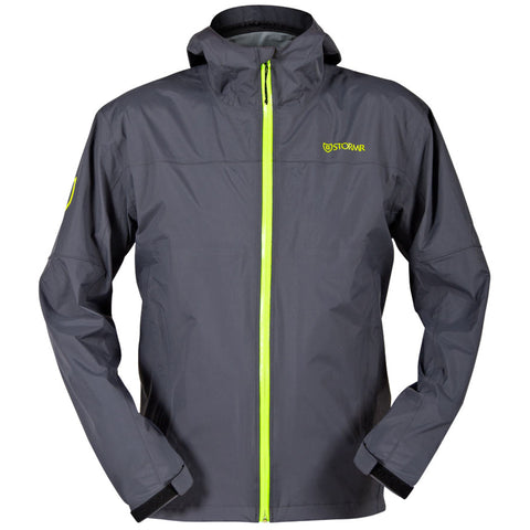 Stormr Mens Nano Shell Jacket Grey/Green Polyester 20K WP Breathable