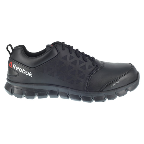 Reebok Womens Black Leather Work Shoes Alloy Toe Athletic Oxford