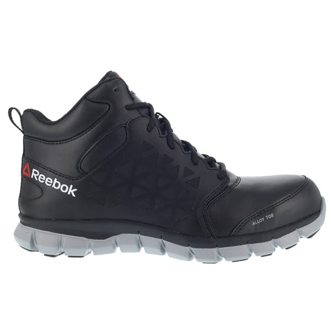 Reebok Mens Black Leather Work Boots Alloy Toe EH Lace-Up