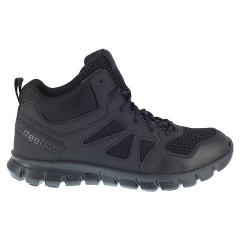 Reebok Mens Black Leather Work Boots Soft Toe Lace-Up