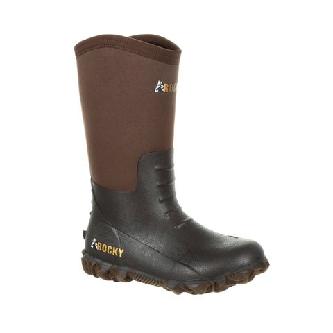 Rocky Youth Dark Brown Rubber Core Outdoor Chore Boots