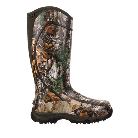 Rocky Core Mens Realtree Xtra Rubber Insulated Waterproof Hunting Boots