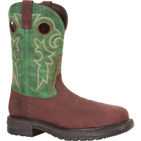 Rocky Original Ride Mens Clover Leather Steel Toe Western Cowboy Boots