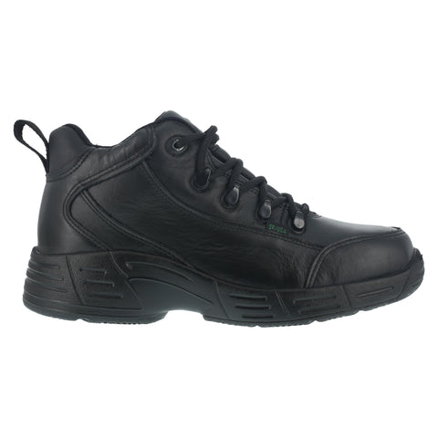 Reebok Mens Black Leather Work Shoes WP Sport Hiker Oxfords