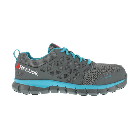 Reebok Womens Grey/Turquoise Mesh Work Shoes Sublite Oxford