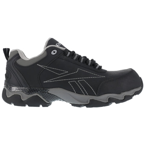 Reebok Mens Black Leather Athletic Oxford Beamer Composite Toe