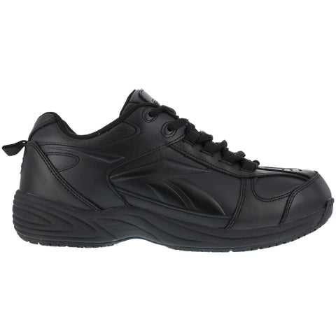 Reebok Mens Black Leather Sport Athletic Oxford Jorie Soft Toe