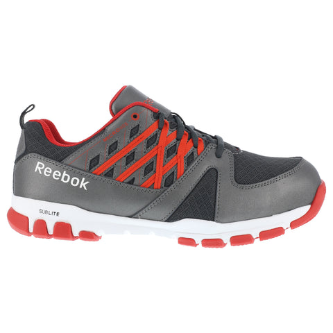 Reebok Mens Grey/Red Leather Work Shoes Sublite Oxford ST
