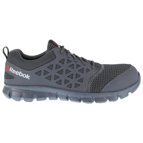 Reebok Mens Grey Mesh Work Shoes Athletic Oxford EH CT