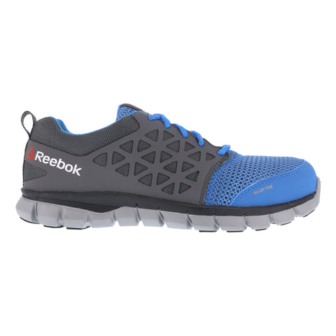 Reebok Mens Blue & Grey Mesh Work Shoes Alloy Toe Oxfords