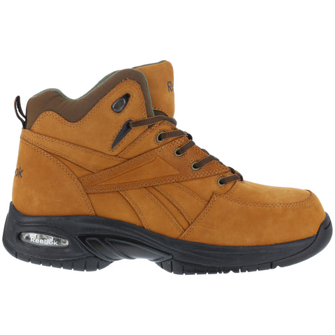 Reebok Mens Tan Leather Athletic Hi Top Hiker Boots Tyak Composite Toe