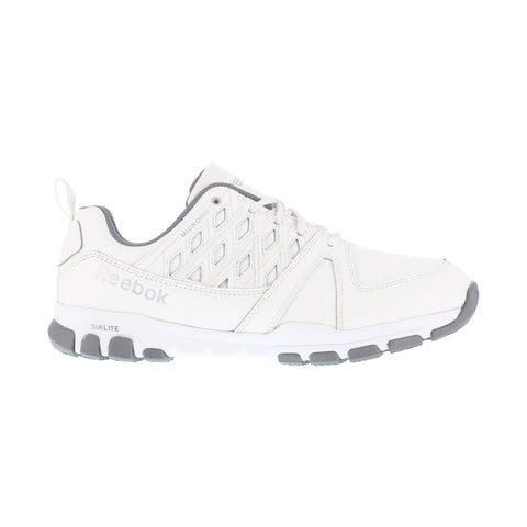 Reebok Mens White Leather Work Shoes Sublite Athletic