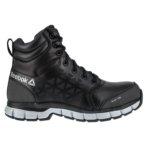 Reebok Mens Black/Grey Leather Work Boots 6in Athletic AT