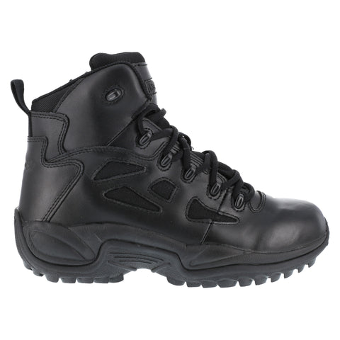 Reebok Mens Black Leather 6in Tactical Boots Rapid Response RB Soft Toe