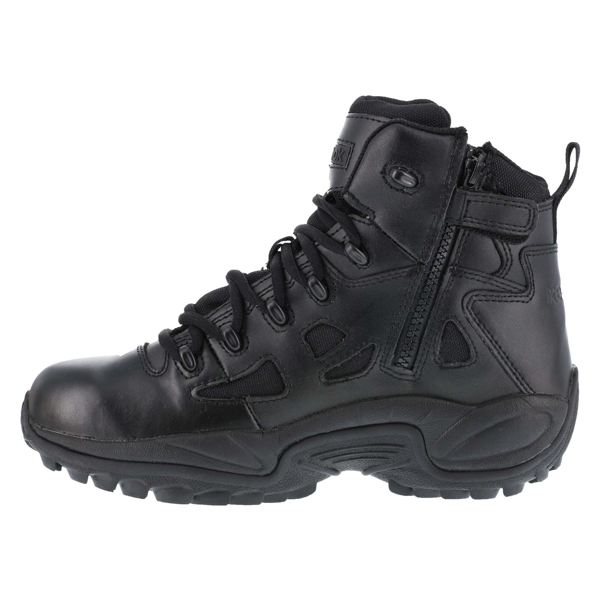 0bc80c07797 Reebok Mens Black Leather 6in Tactical Boots Rapid Response RB Soft ...