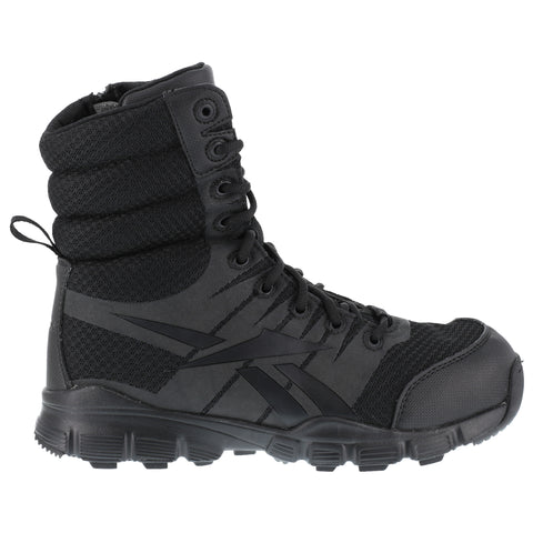 Reebok Mens Black Micro Mesh 8in Tactical Boots Dauntless Soft Toe