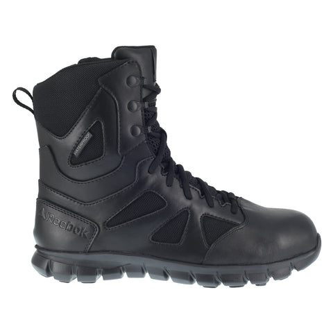 Reebok Mens Black Leather Work Boots Sublite Tactical 8in WP