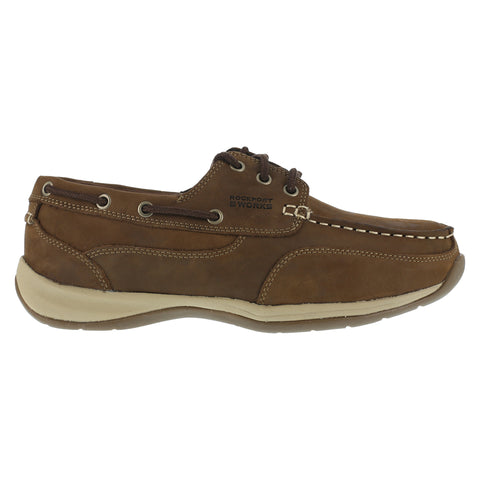 Rockport Mens Tan Leather Casual Boat Shoes Sailing Club Steel Toe