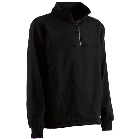 Berne Mens Black Cotton Blend Fleece Quarter Zip