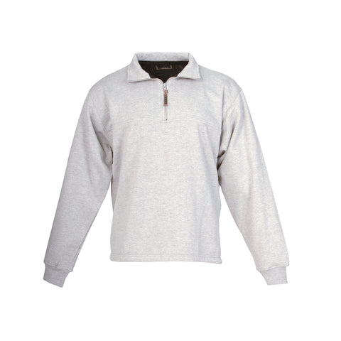 Berne Mens Grey Cotton Blend Fleece Quarter Zip