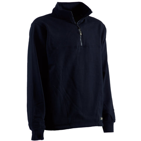 Berne Mens Navy Cotton Blend Fleece Quarter Zip
