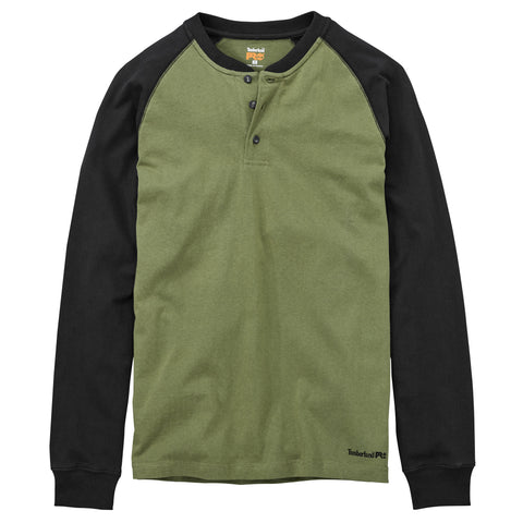 Timberland Pro Core Mens Burnt Olive 100% Cotton Black Henley Shirt