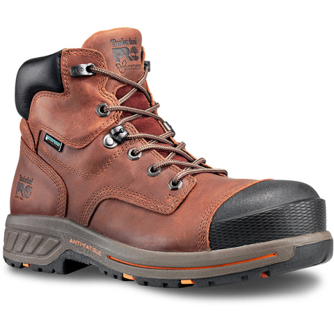 Timberland Pro Helix HD 6in Soft Toe Mens Red Brown Leather WP Work Boots