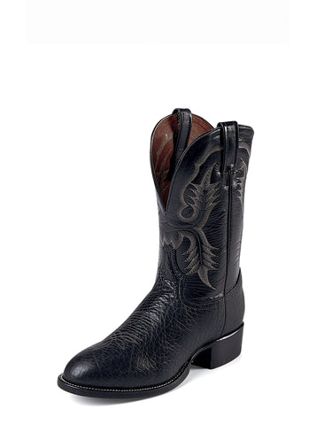 Tony Lama Mens Black Bullhide Leather Stockman 11in Western Boots