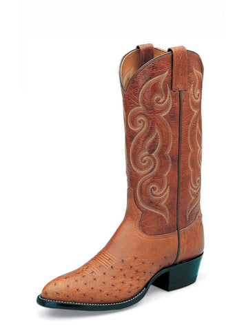 Tony Lama Mens Peanut Brittle Smooth Ostrich Goat Top Western Boots