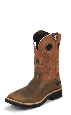 Tony Lama Mens Tan Comanche W/P Composition Toe Leather Work Boots