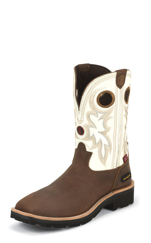 Tony Lama Mens Bark Cheyenne W/P Composition Toe Leather Work Boots