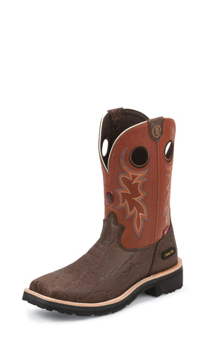 Tony Lama Mens Walnut Elephant Print Comp Toe Leather Work Boots