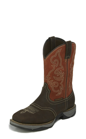 Tony Lama ST WP EH Mens Chocolate/Ruby Junction Leather Work Boots