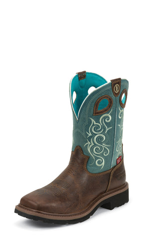 Tony Lama Womens Saddleback Brown W/P Comp Toe Leather Work Boots