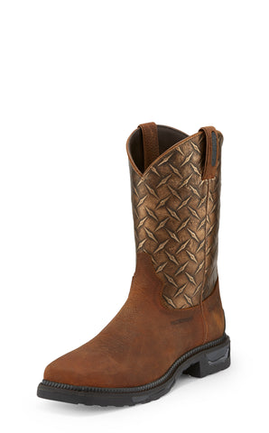 Tony Lama 11in WP CT Mens Rust Diamond Plate Diboll Leather Work Boots