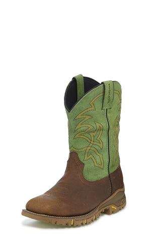Tony Lama 11in EH Mens Parrott Green Roustabout Leather Work Boots