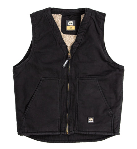 Berne Mens Black 100% Cotton V-Neck Vest
