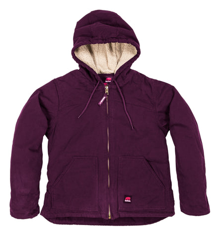 Berne Ladies Plum 100% Cotton Ladies Hooded Coat Sherpa