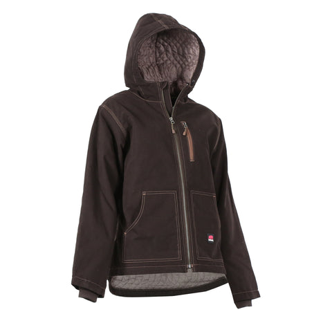 Berne Ladies Dark Brown 100% Cotton Ladies Hooded Jacket